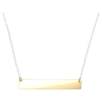"""14K Gold Nameplate Necklace, Yellow Gold 17 1/4"""" Inches, As Seen on Kim Kardashian"""