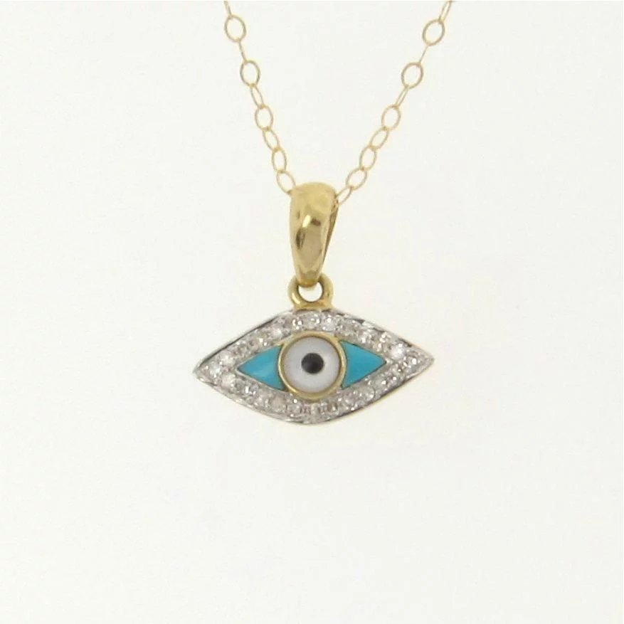 14k gold and diamond evil eye necklace set with turquoise. Black Bedroom Furniture Sets. Home Design Ideas