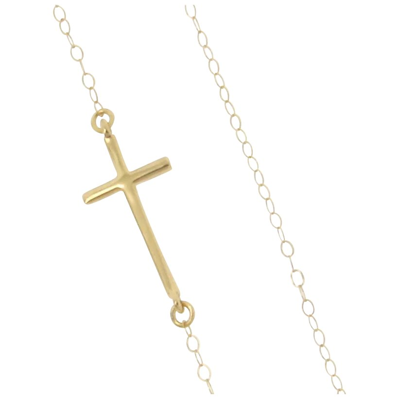 Sideways Cross Necklace 14k Yellow Or White Gold Small