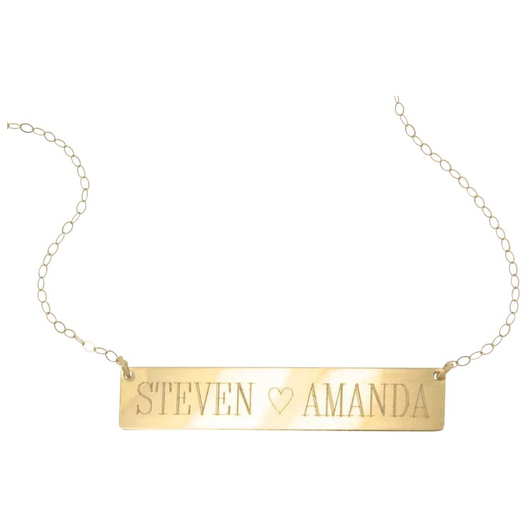 Will engrave 14k gold nameplate necklace yellow rose or white will engrave 14k gold nameplate necklace yellow rose or white gold name plate aloadofball Images