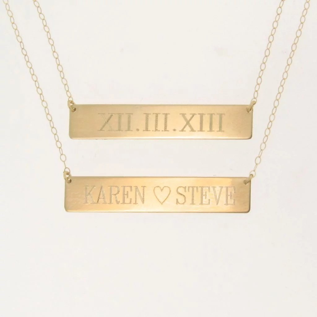 Will engrave 14k gold nameplate necklace yellow rose or white click to expand aloadofball Image collections