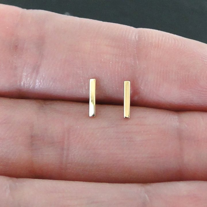 14k Solid Gold Tiny Bar Earrings Small Line Studs Stud Ear