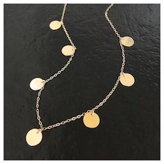 Round Disc, Coin Drop Necklace In Gold Filled - Floating Dots