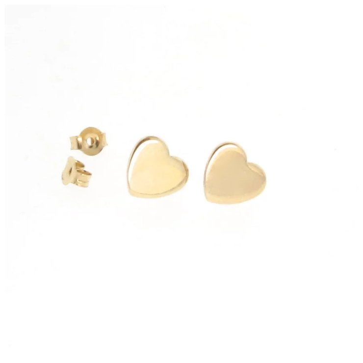 14k Gold Heart Earring Studs As Seen On Emma Stone Tiny Post