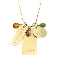Engraved Personalized 14k GOLD Nameplate Charm Necklace, Names, Birthdate, Initial - Tell Your Story