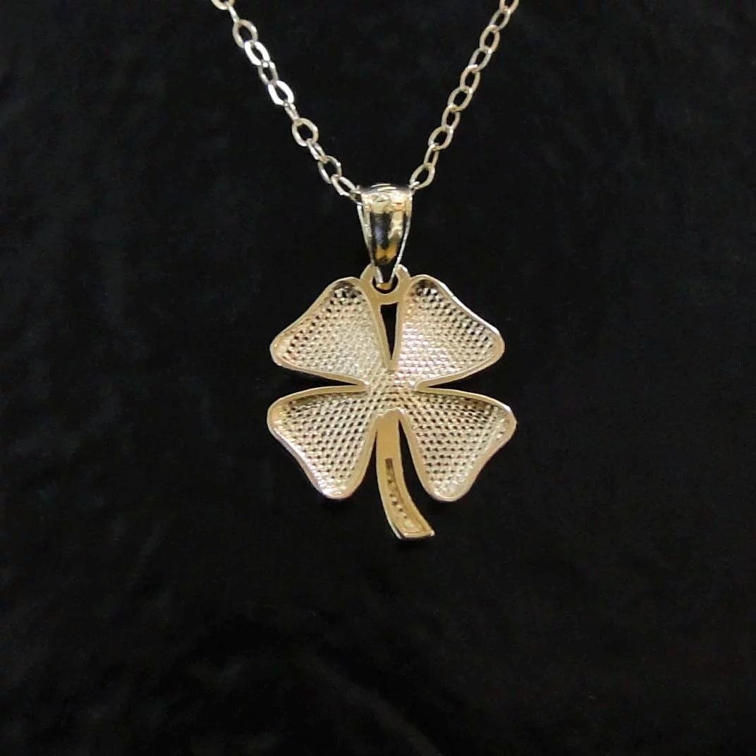 fossil necklace pendant wood red big four clover leaf charm products