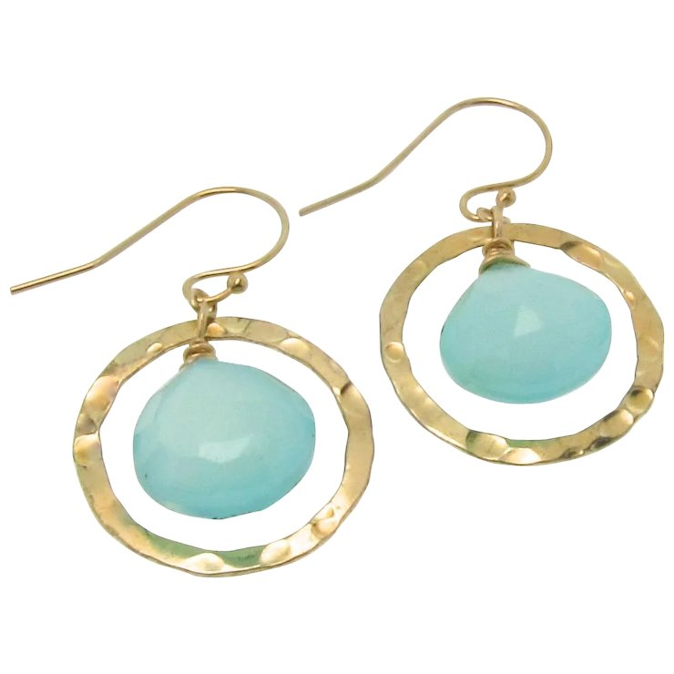 Aqua Chalcedony Earrings Gold Filled Drop Dangle Hammered Rings Luminous