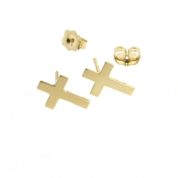Gold Cross Earring Studs Tiny Stud Earrings In 14k Yellow Post