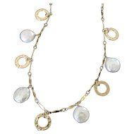 Coin Pearl Drop Necklace, Small 10mm Coin Pearls With Circle Disc Drops, 14/20 Gold Filled Dapped Bar Chain
