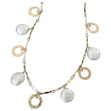 baedf703e Coin Pearl Drop Necklace, Small 10mm Coin Pearls With Circle Disc Drops, 14/