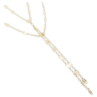Gold Lariat Necklace, Y Necklace, Tassel Necklace, Double Strand Lariat Necklace