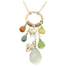 Autumn Leaves - 14.50 Carat Lemon Topaz, Mandarin Garnet, Green Apatite, Peridot, Yellow Opal 14K Gold Filled Necklace