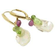 Petal Pearl Earrings, 14k Solid Gold, Lustrous Snowflake Pearls, Rhodolite Garnet, Peridot, Green Tourmaline Drop Earrings