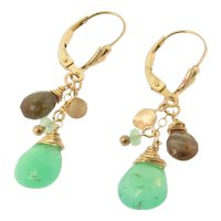 Gemstone Drop Dangle Earrings, Green Chrysoprase, Andalusite, 14K Gold Filled Drop Earrings on Fleur de Lis Lever Backs