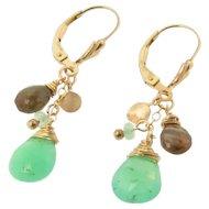 Gemstone Drop Dangle Earrings, Green Chrysoprase, Andalusite, 14K Gold Filled Drop Earrings on Fleur de Lis Lever Backs