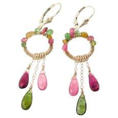 Watermelon Tourmaline Dangle Earrings, Sterling Silver Wire Wrapped Chandelier Earrings