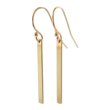 GOLD Bar Earrings, Stick Earrings - 14K Solid Yellow, White or Rose Gold Dangle Earrings, Smooth or Hammered,