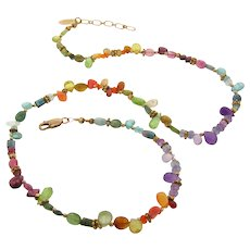 Multi Colored Gemstone Necklace - Tourmalines, Pink Sapphire, Kyanite, Apatite, Peridot, Amethyst, Citrine and more - 14K Gold Filled Necklace
