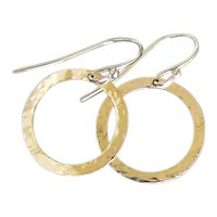 14K Gold Earrings Gold Hoop Circle Drop, Dangle Earrings 16mm, 5/8 Inch Hammered Hoops