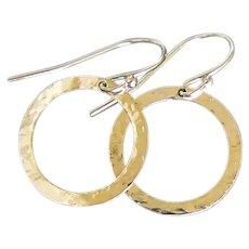 14K Gold Earrings Gold Hoop Circle Drop, Dangle Earrings 16mm, 5/8 Inch Hammered Hoops