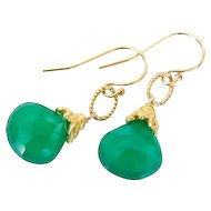 Emerald Green Chalcedony Earrings Set in 24k Gold Plated Vermeil
