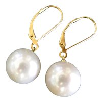 Lustrous White Freshwater Pearl Drop Earrings Set in 18k Solid Gold Lever Back Ear Wires
