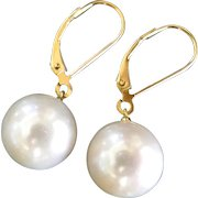 Lustrous White South Sea Pearl Drop Earrings Set in 18k Solid Gold Lever Back Ear Wires -  Simple, Elegant, and Classic