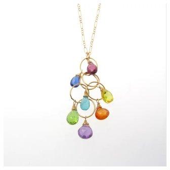 Gemstone Necklace in 14K Gold Filled,  Drop Pendant Multi Gems