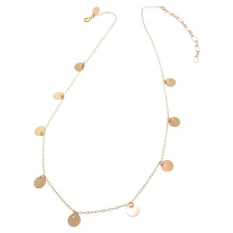 Gold Disc Choker Necklace, 14/20 Gold Filled or Sterling Silver Coin Drop Necklace with Extender