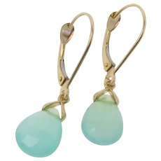 Peruvian Blue Opal Earrings Set in 14k Solid Gold