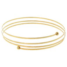 14K Gold Adjustable Bangle Bracelet, Cuff Bracelet, Wrap Around Bracelet