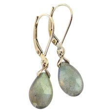 14k Yellow Gold Labradorite Dangle, Drop Earrings With Lever Back Ear Wires, One of a Kind