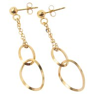 Dangle Drop Earrings With Post Studs 14k Yellow Gold