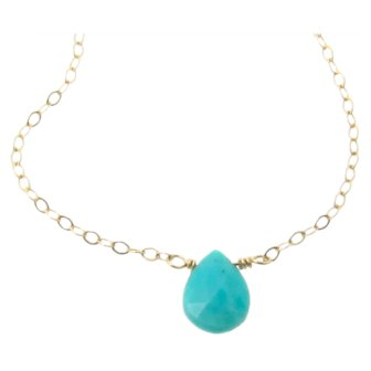 Turquoise Necklace in 14K Gold, Yellow Gold or White Gold Sleeping Beauty Turquoise Pear Drop Necklace