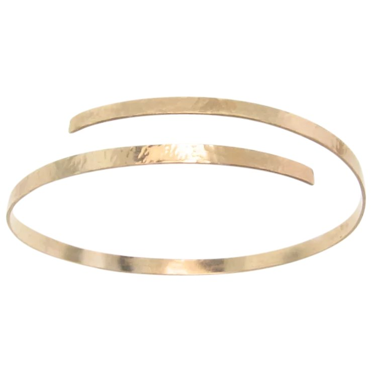 Gold Cuff Bracelet 14k Hammered Oval Yellow Or White