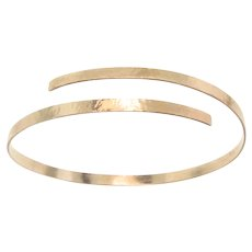 Gold Cuff Bracelet, 14K Gold Hammered Oval Bracelet, 14K Yellow or White Gold