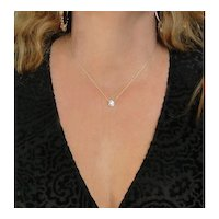 CZ Solitaire Necklace - 1/2 Carat 14K SOLID Yellow or White Gold, Cubic Zirconia, As Seen On Kelly Ripa