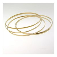 Gold Bangle Bracelet, 2mm Solid 14K Yellow, White, or Rose Gold Bangles