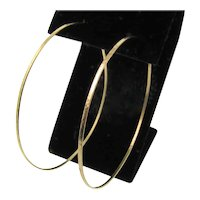 "Thin Hammered Hoops Gold, 2"" Gold Filled Handcrafted Hoop Earrings"