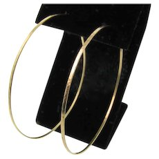 "Thin Hammered Hoops Gold, 14k Solid Gold Handcrafted Minimalist Skinny 2"" Hoop Earrings, 14k Yellow, White, or Rose Gold"