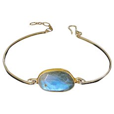 Labradorite Gemstone Cuff Bracelet Gold, Adjustable Bangle Bracelet in Gold Filled