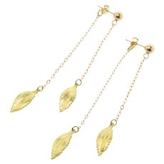 Leaf Earrings, 18k And 14k Solid Gold Long Dangle Drop Earrings, Dainty And Feminine Earrings in Yellow Gold