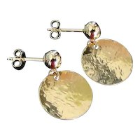 Gold Disc Earrings With Ball Post Ear Studs, Hammered Circle Drops, Dangle Earrings in Yellow or White Gold
