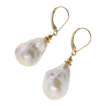 Baroque Pearl Earring Drops in 18K Solid Gold