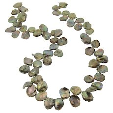 Keishi Petal Pearls - Peacock Green Pearls - 20 Inch Hand Knotted Strand