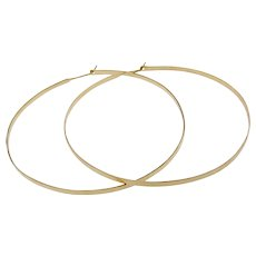 "Hoops 14K Gold, 2"" Thin Hammered 2mm Hoop Earrings, 14k Yellow Gold, Exclusive Design by Theresa Mink"