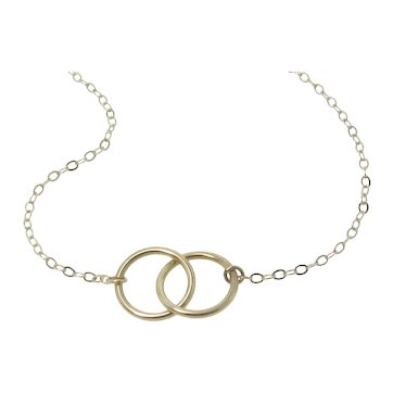 Interlocking Circles Necklace - Double 10mm Rings in 14K Yellow Gold, White Gold, or TWO Tone