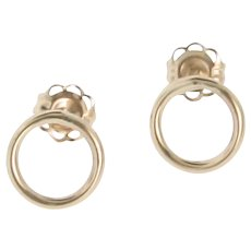 Open Circle Ear Studs - Small 14K Gold Minimalist Stud Earrings, 14K Yellow Gold or White Gold