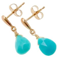 Turquoise And 14K Gold Drop Earrings - Genuine Sleeping Beauty Faceted Pear Turquoise - Teardrop Stud Earrings in Yellow or White Gold