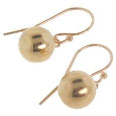 Small Ball Drop Earrings - 14k Gold 8mm Ball Dangle Earrings